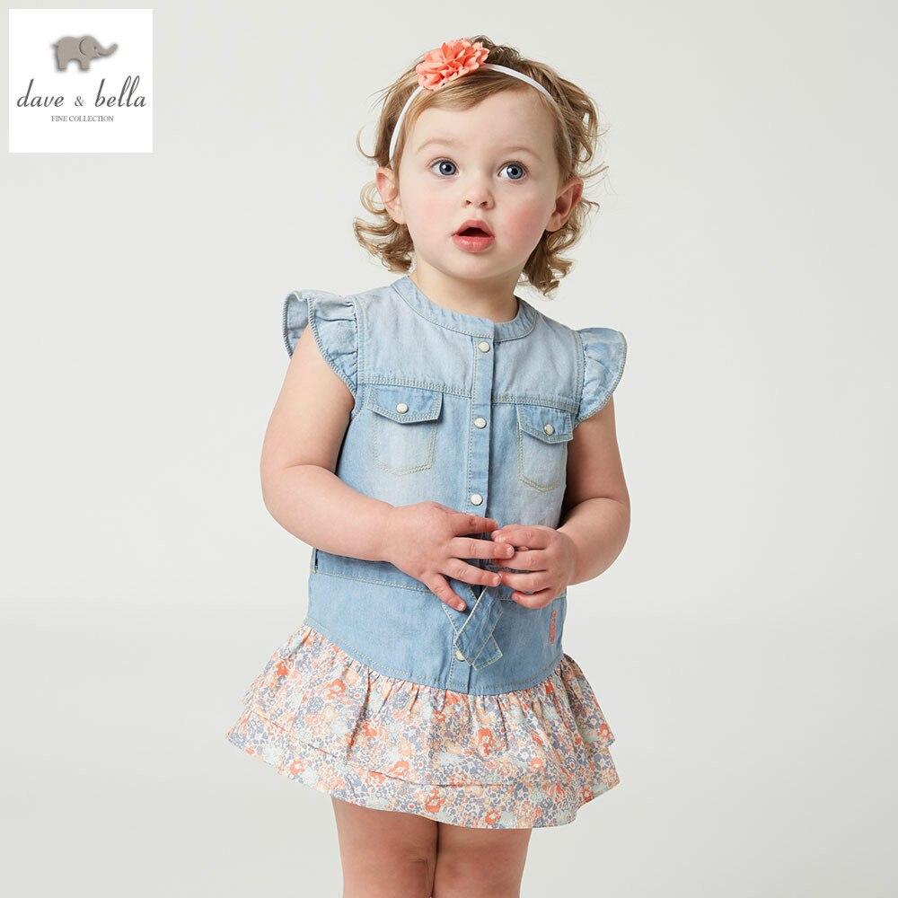 DB5050 dave bella summer baby girl floral splicing sleeveless dress cotton denim dress sweet girls  dress todlle dress<br>