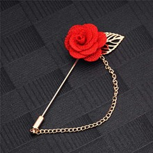 SHUANGR Men & Women 3D Rose Brooches Flower Brooch for Suits Winter Coat Collar Gold Leaf Tassel Brooch Pin of Wedding Jewelry