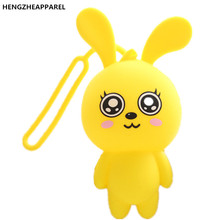 2017 New Cute Cartoon Animal Silicone Key Holder Case Bag Wallet Rabbit Key Box Cute Little Drawing Silicone Key Bag Buckle(China)
