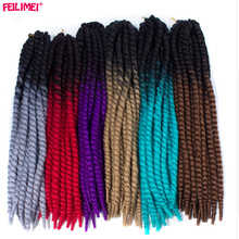 Feilimei Ombre Mambo Twist Braiding Hair 120g 2X Crochet Twist Braids Synthetic Black Blonde Gray Purple Blue Hair Extensions