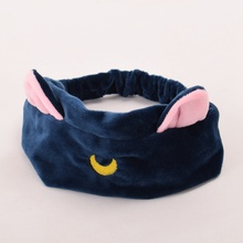 1pc Girls Casual Cartoon Elastic Headband Moon Embroidered Pattern Cat Ears Hair Band(China)