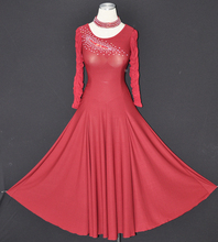 Long sleeve elegant lace ballroom dance dresses red lycra practice wear for ballroom salsa dresses waltz dance costumes