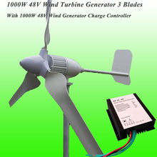 2017 Hot Selling 3 Blades Rated 48V 1000W Wind Generator & 1KW 48V Wind Charge Controller 1KW Wind Turbine Generator Kit