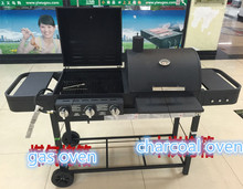 New design BBQ grill, double gas&charcoal BBQ grill,gas oven,charcoal oven