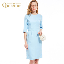 Queenus Women Dress 2017 O-Neck Lady Elegant Three Quarter Light Blue OL Day Dress Women Straight Fitted Dresses Free Shipping