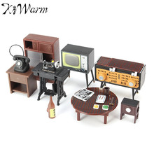 KiWarm 1 Set Retro Miniature Doll House Furniture Sewing Machine Telephone Ornaments Toys For Home Decoration Crafts Kids Gifts