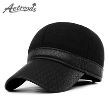 [AETRENDS] 2017 New Fashion Thick Baseball Cap Men's Hats with Ear Protection Russian Popular Caps Z-2216