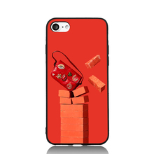 Red Series Bag and Bricks Fun Art For iPhone 6 6s 7 Plus Case TPU Phone Cases Cover Mobile Protection Decor Gift