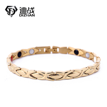 Fashion Energy Leaf Pattern Black Gold Silver Color Stainless Steel Health Germanium Magnetic Bracelet Unisex Gift Jewelry(China)