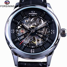 Forsining Houndstooth Design Genuine Leather Black Silver Case Men Skeleton Watches Top Brand Luxury Automatic Mechanical Watch(China)