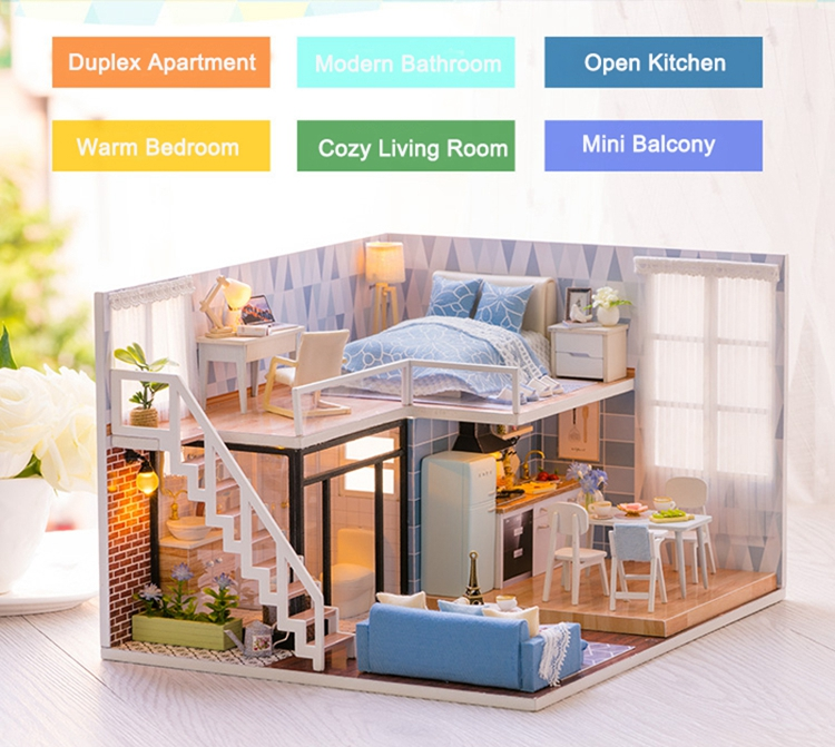 New Arriving DIY Miniature Model Dollhouse Blue Time With Furnitures LED 3D Wooden House Toys Handmade Best Gifts For Children (5)