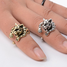 10pcs Wholesale Cute Leopard Panther Animal Adjust Rings Bague Bijoux for Women Men Gift Engagement Christmas Birthday Jewelry(China)