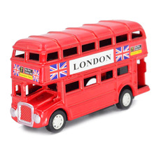 BOHS London Style Jack Union Red Double Layer Inertia Bus Model Diecast, with Pencil Sharpener 8.9cm*4.8cm*2.6cm(China)