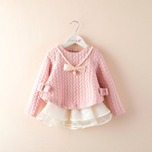 2016 Autumn and Winter New Children 's Clothing Korean Girls Folder Silk Thicken Pink Princess  Children' s Dress YD018LM