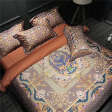 Tribute silk Luxury 100S Egyptian Cotton Mandala Bohemia Queen King size Bedding sets 4Pcs Brown Duvet cover Bed sheet set(China)