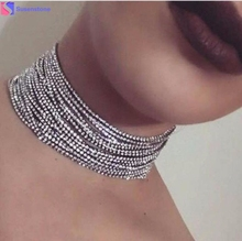 1PC Crystal Multi-Layer Diamante Rhinestone Choker Drop Necklace Multi - layer drill chain necklace Alloy/Crystal dropship #GH20(China)