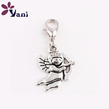 20pcs/lot Fashion Love Cupid Dangle Charms with Lobster Clasp Angel Baby Charms Pendant for Jewelry Making