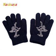 10 Colors Solid Magic Wrist Gloves Figure Skating Ice Training Gloves Warm Fleece Thermal Safety Child Adult Skater Rhinestone(China)