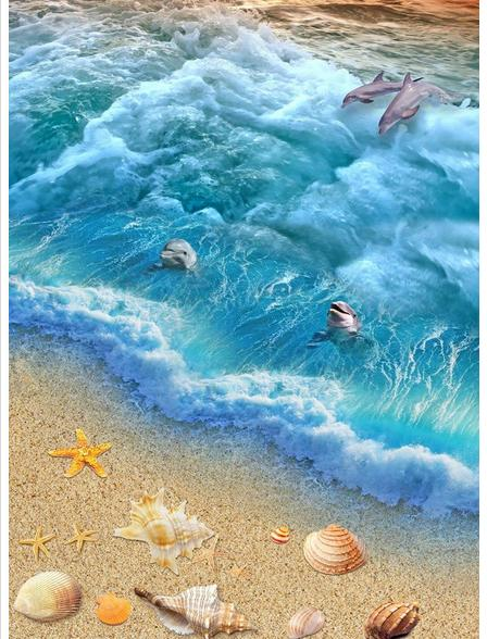 Custom photo Waterproof floor wallpaper 3 d ocean beach 3d mural PVC wallpaper self-adhesion floor wallpaer<br>
