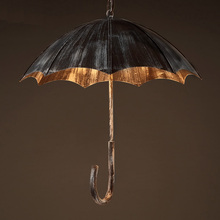 Retro creative umbrella wind industrial loft wrought iron cafe bar restaurant pendant lights personality Art pendant lamp