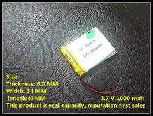 Hot sell 603443 rechargeable customize polymer battery,3.7V,1000mAh,best price&top quality(UL,CE),500 times cycle