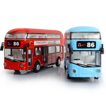 Kids boys girls Toys London Double-decker Bus Alloy Sightseeing Bus Model Pull Back With Sound and Light Gift for Children PT772(China)