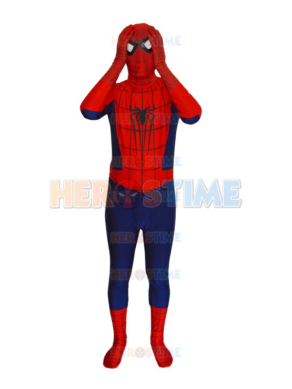 Spandex Zentai Navy Blue Classic Spider-man Superhero Costume Lycra Halloween Cosplay Spidey Bodysuit with Free Shipping