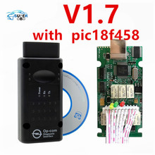 Hot Selling Top Quality Opcom OP-Com V 1.7 V1.70 Can OBD2 for OPEL Firmware V1.70 with PIC18F458 Chip Support Car