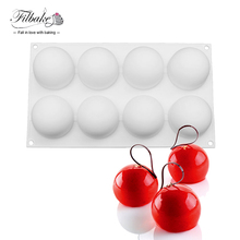FILBAKE Round Ball Shape Pillow Silicone Mold Cake Baking Moulds Pans Dessert Making for Muffin, Brownie, Pudding and Jello(China)