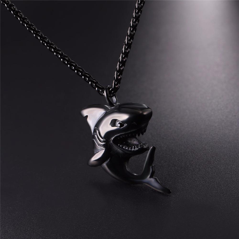 """Punk Shark"" Stainless Steel Shark Necklace / Chain 7"