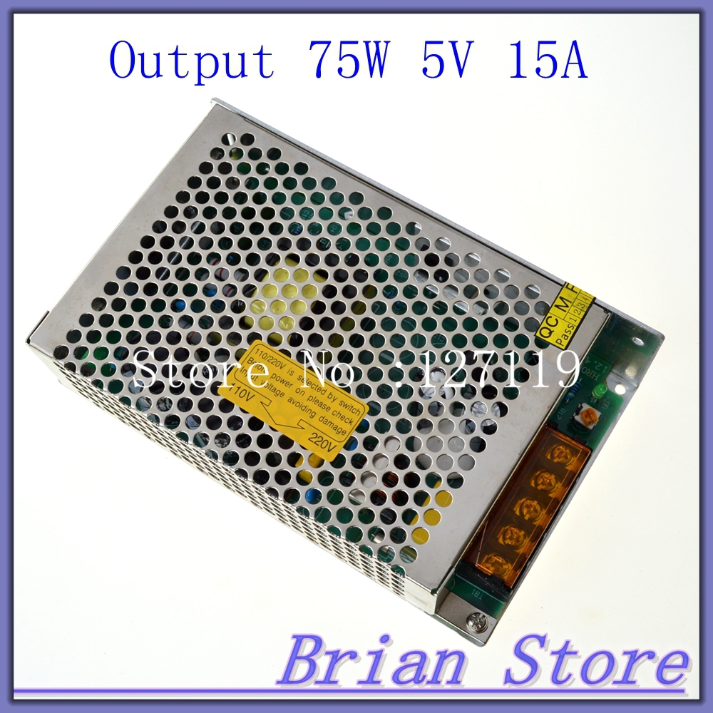 leds-mall Led driver 75W 5V 15A Single Output  Adjustable Switching power supply  for LED Strip light  AC-DC Converter<br><br>Aliexpress