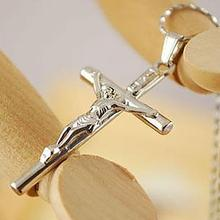 Vintage Cross Crucifix Jesus Piece Pendant & Necklace Silver Color Stainless Steel Men Chain Christian Jewelry Gifts
