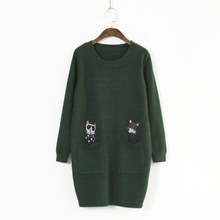 519-0099 literary style autumn new women's embroidery pocket  cat kitty sweater loose pullover jumper mori girl