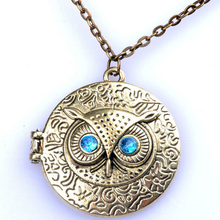 Lady Girl Fashion Retro Chic Owl Eye Statement Bib Choker Bronze Pendant Chain Necklace Jewelry Gift(China)