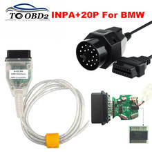INPA K+DCAN Add OBD1 20Pin to OBD2 16Pin For BMW Series Green PCB FTDI FT232RL Chip OBD2 USB Cable Diagnostic For BMW INPA K CAN