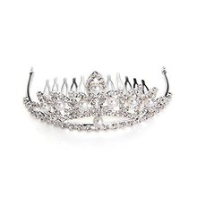 Silver Plated Crystal Pearl Crown Wedding Tiara Hair Slide Comb Pin