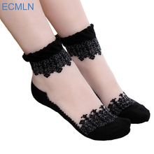 1Pair Women Lace Ruffle Ankle Sock Soft Comfy Sheer Silk Cotton Elastic Mesh Knit Frill Trim Transparent Women's socks drop ship(China)