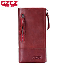 GZCZ Genuine Leather Luxury Brand Woman Wallet Long Vallet Woman Portomonee Zipper Coin Purse Card Holder Long Clutch Handy(China)