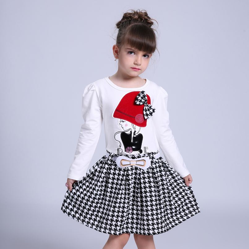 2017 Autumn Girls Dresses 3 4 5 6 7 8 9 10 Years Long Sleeve Plaid Dress For Girl Clothes Cotton Pattern Baby Children Clothing<br><br>Aliexpress