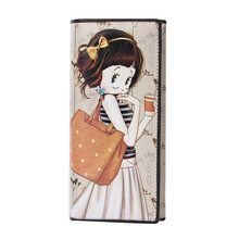 2017 New Fashion Tri-fold Purse Korean Style Designer Cartoon Print Long Wallet Women Trendy Practical Money Clip Zipper Wallet(China)