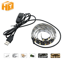 USB 5V LED Strip 5050 TV Background Lighting 50cm / 1m / 2m 60LEDs/m Warm White / White USB Cable with Switch Strip set(China)