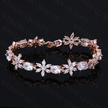 Elegant Sparkling Flower and Oval Shape Clear Cubic Zirconia Crystal Tennis Bracelet in White or Rose Gold Colors