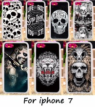 DIY Painted Phone Back Covers For Apple iPhone 7 iphone7 4.7inch Cases Plastic & TPU Cool Skull Pattern Telephone Accessories