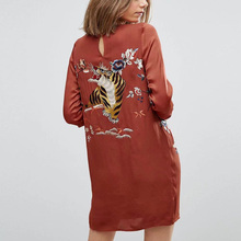 women CHIC Vintage Hippie silky polyester MINI Party DRESS Tiger floral Embroidered Shift Dresses Female Casual A Line Dress(China)
