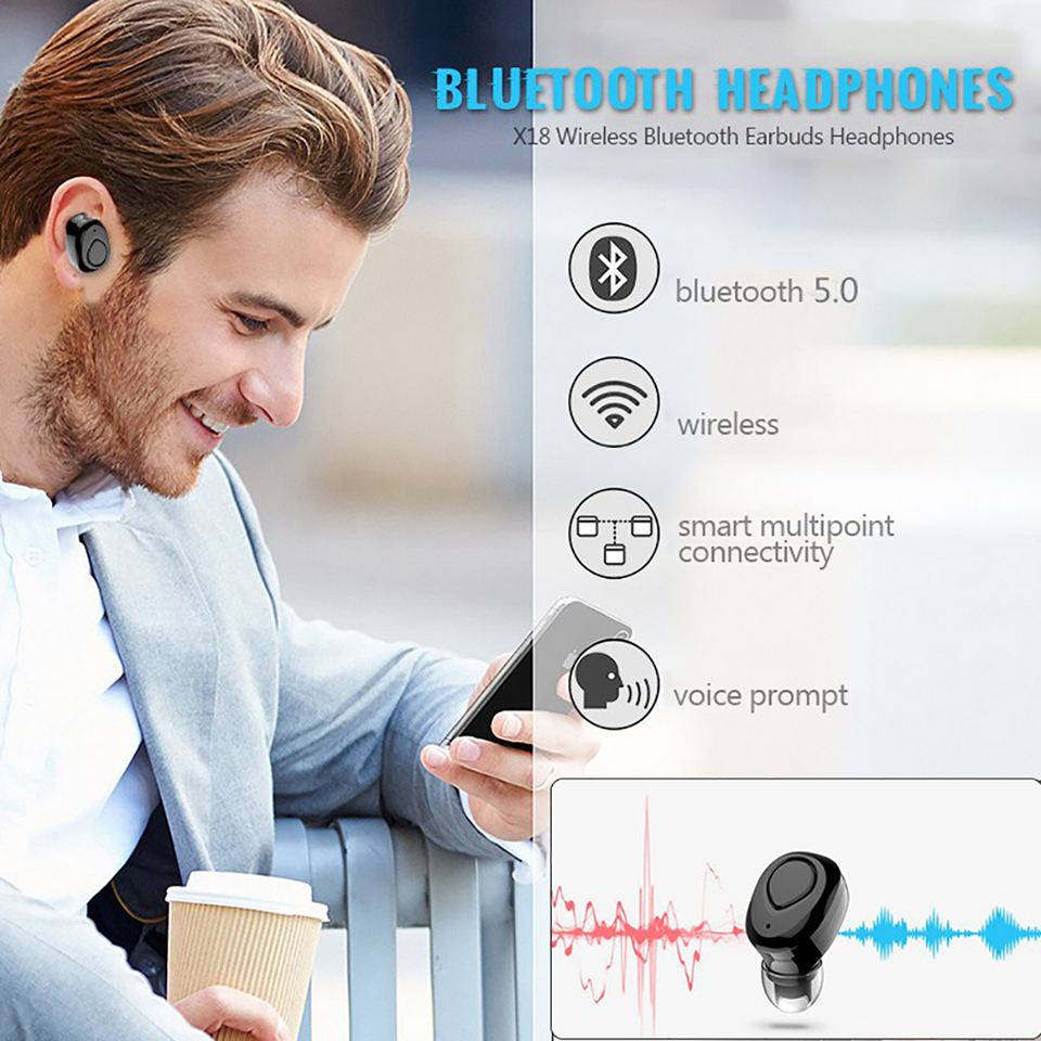VTIN XK832 Wireless TWS Earphones Bluetooth Earbuds CVC6.0 Noise Cancelling Mic Headphone With Charging Case For Iphone X Huawei (1)