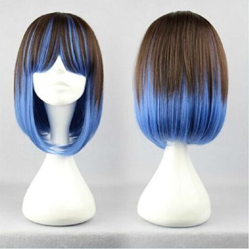 HAIRJOY  Top Quality Blue  Brown Cosplay Wigs  Mix Color Long Straight Lolita Wig <br><br>Aliexpress