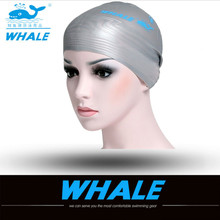 WHALE Professional Multicolor Waterproof Women Silicone Ear Protection Swimming Caps For Long Hair Head To Swim Cap Ear Protect(China)