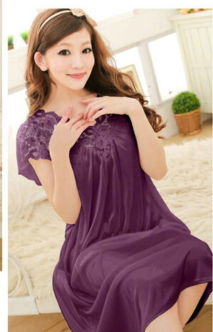 Free shipping women lace sexy nightdress girls plus size bathrobe Large size Sleepwear nightgown Y02-3(China (Mainland))
