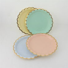 Solid Paper Plates Cake Luncheon Dessert Candy Small Plates Pink Blue Mint Yellow Gold Plates for Wedding Birthday Baby Shower