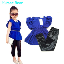 Humor Bear Girls Clothes Fashion Summer Children Girls Clothing Sets Blue Shirt Dress + Black Leggings Cool Baby Kids 2Pcs Suits
